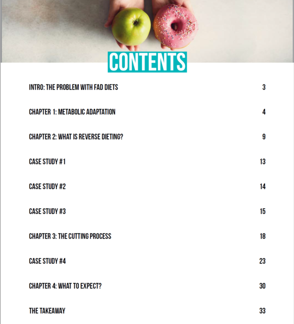 table of contents page of the ebook
