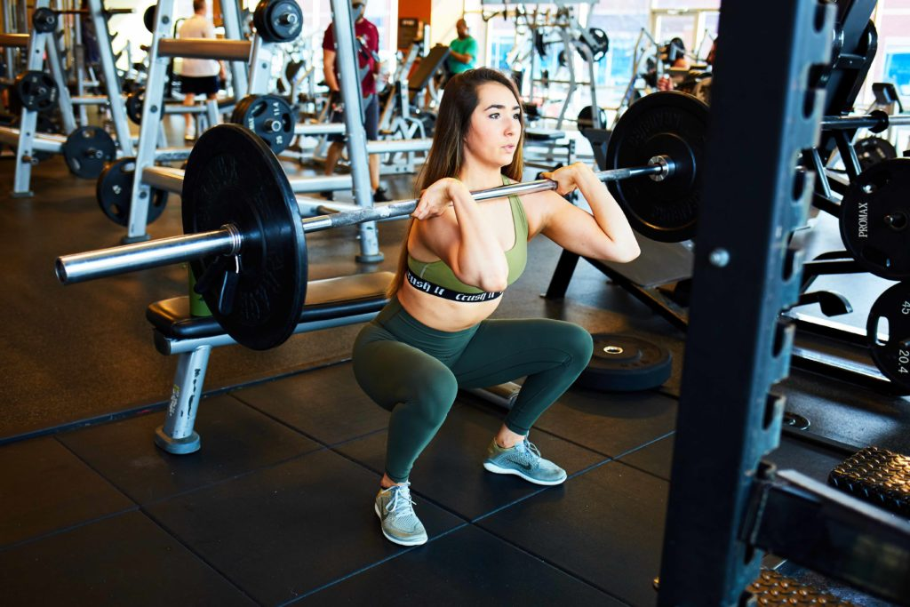 image of marissa performing a front squat