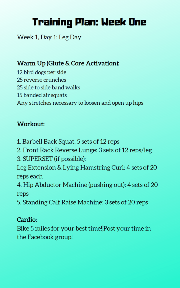 snapshot of a workout page in the six week guide