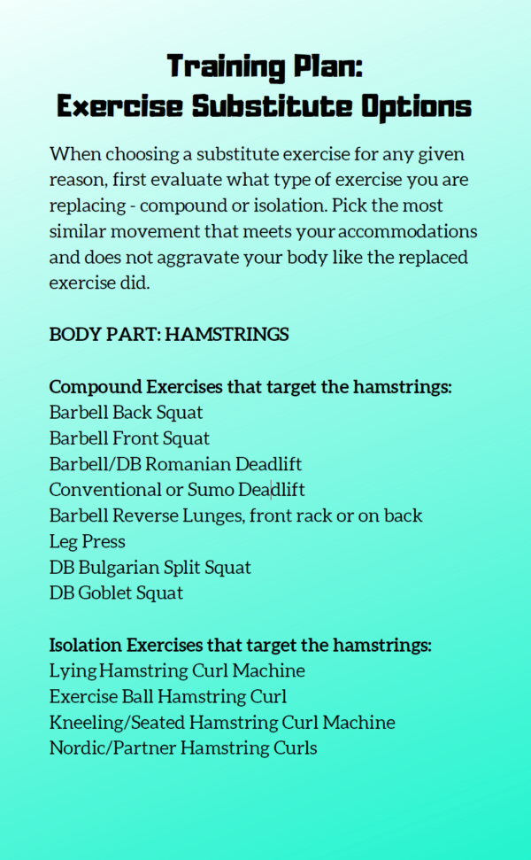 snapshot of the exercise substitution page out of the six week training guide