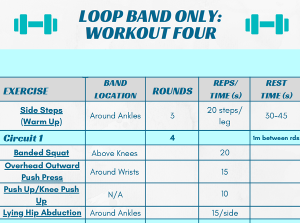 image showing a part of the 'loop band only workout 4' page of the ebook