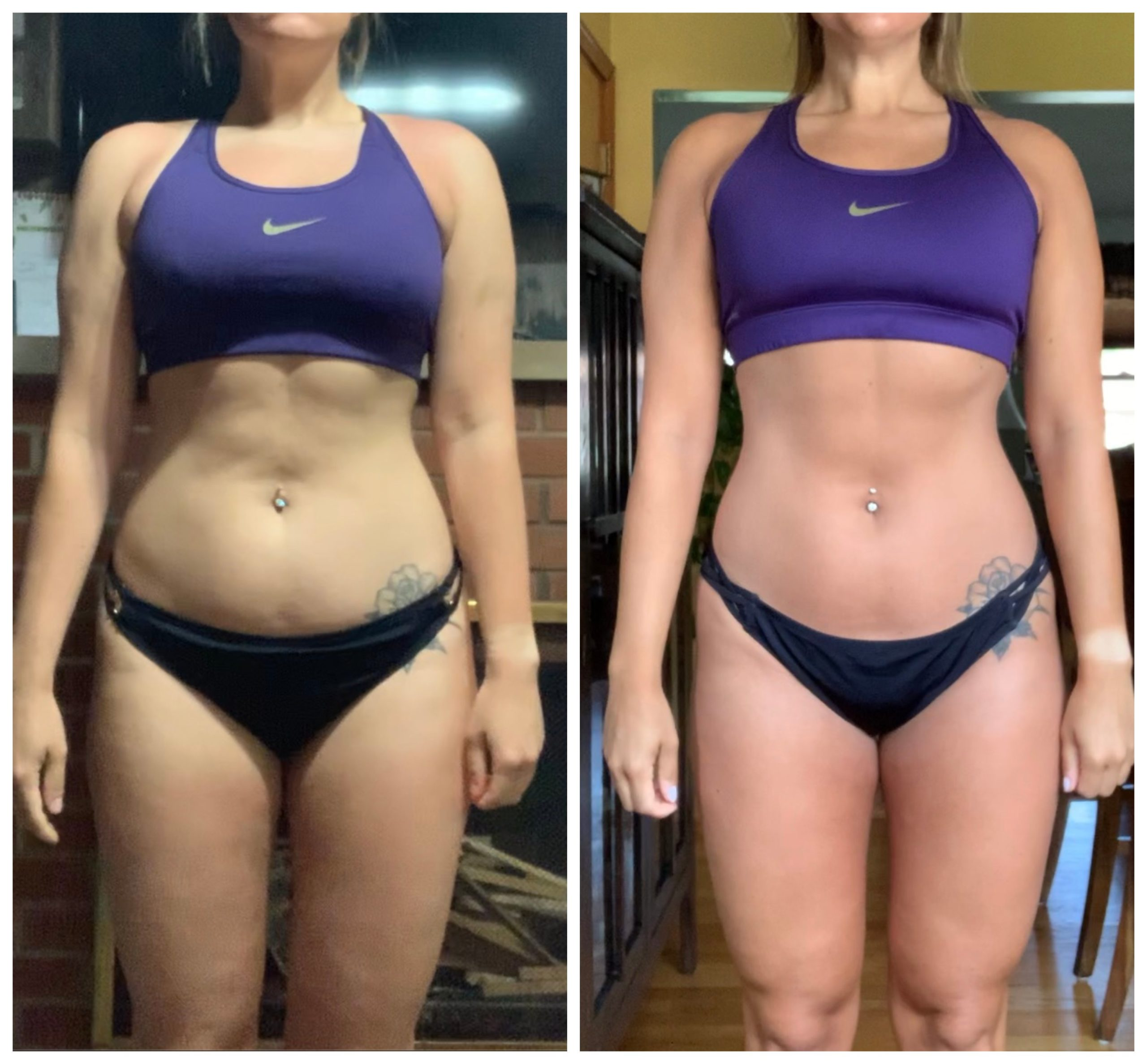front side of a female fat loss transformation