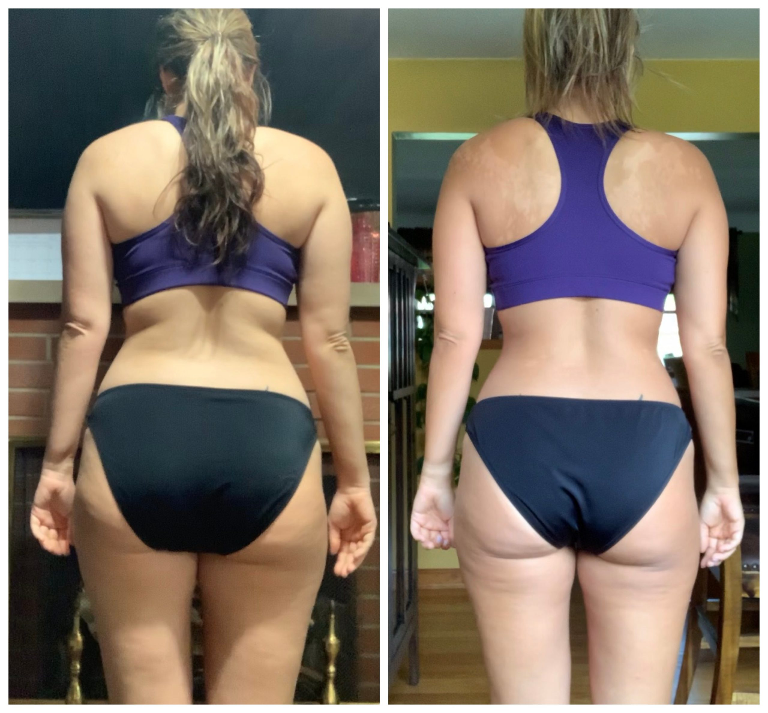 back side of a female fat loss transformation