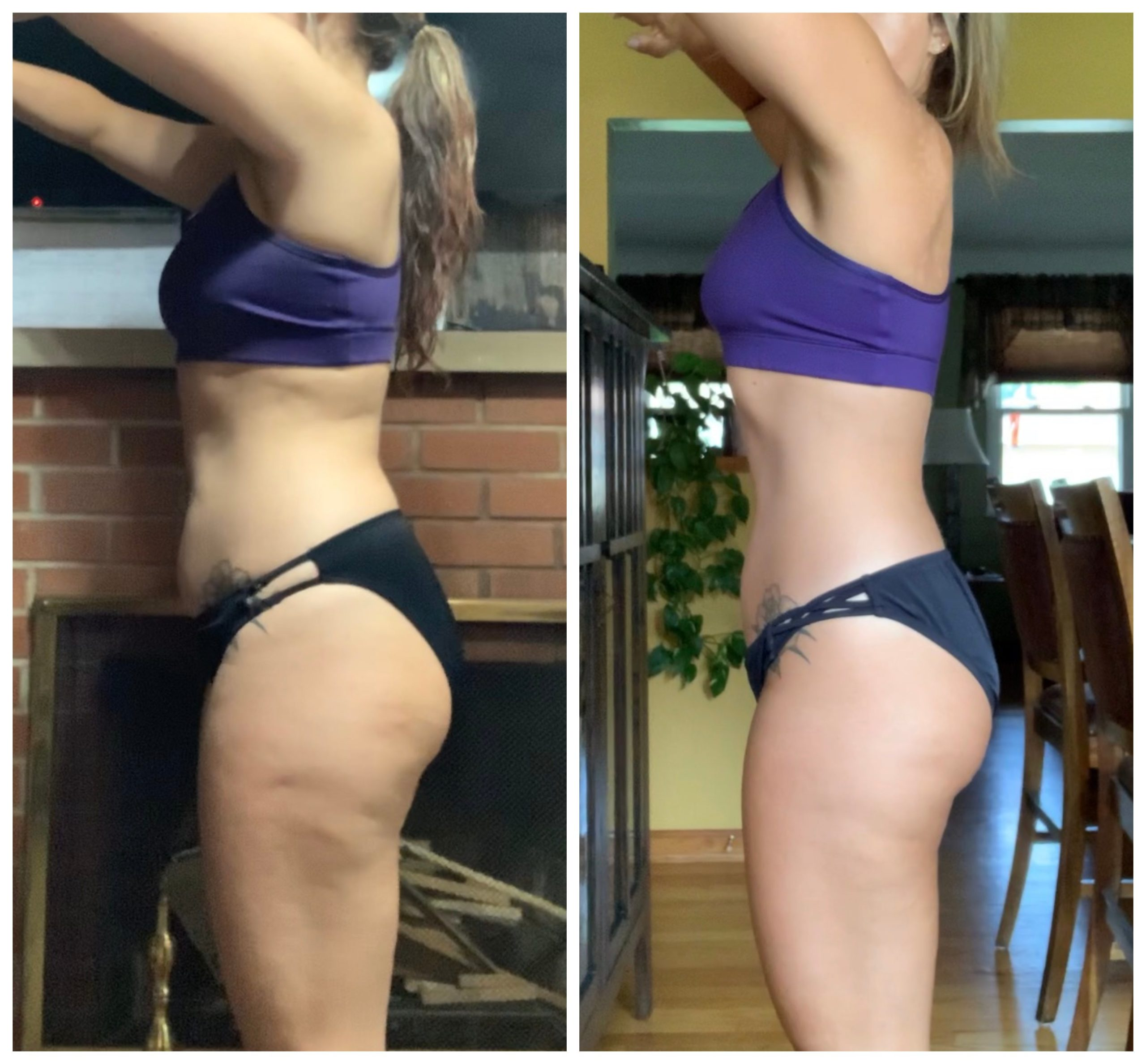 side prpfile of a female fat loss transformation